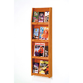 4 Magazine/12 Brochure Wall Display - Medium Oak