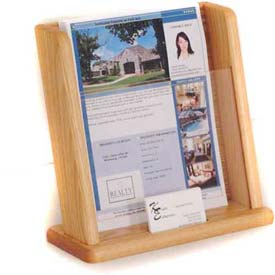 Wooden Mallet Countertop Literature Display with Business Card Pocket, Light Oak