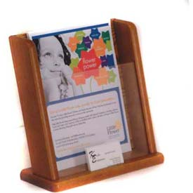 Wooden Mallet Countertop Literature Display with Business Card Pocket, Medium Oak