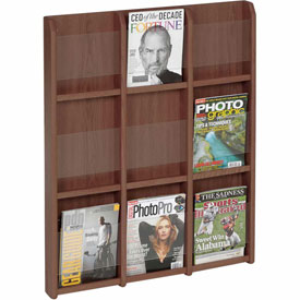 9 Magazine/18 Brochure Oak & Acrylic Wall Display - Mahogany