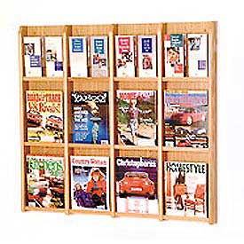 12 Magazine/24 Brochure Oak & Acrylic Wall Display - Light Oak