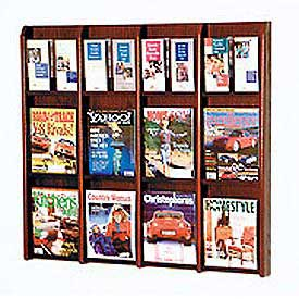 12 Magazine/24 Brochure Oak & Acrylic Wall Display - Mahogany