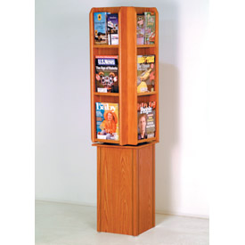Free Standing 12 Pocket Rotary Literature Display - Medium Oak