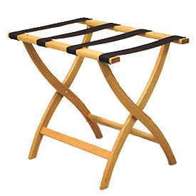 Luggage Rack w/ Convex Legs - Light Oak/Brown