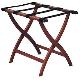 Luggage Rack w/ Convex Legs - Mahogany/Black