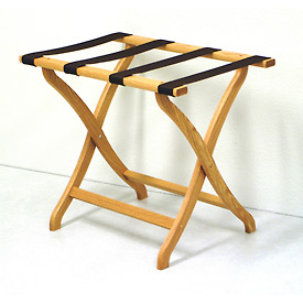 Luggage Rack w/ Concave Legs - Light Oak/Black