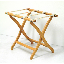 Luggage Rack w/ Concave Legs - Light Oak/Tapestry