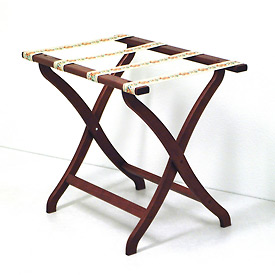 Luggage Rack w/ Concave Legs - Mahogany/Tapestry
