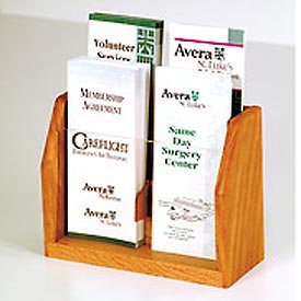 Countertop 4 Pocket Brochure Display - Medium Oak