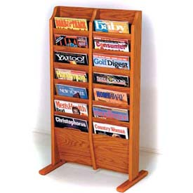 Wooden Mallet Cascade™ Free-Standing 14 Pocket Magazine Rack, Medium Oak