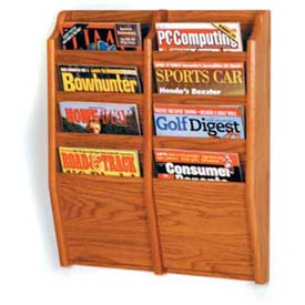 Wooden Mallet Cascade™ 8 Pocket Magazine Rack, Medium Oak