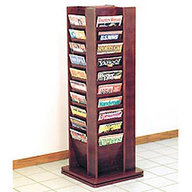 40 Magazine Rotary Floor Display - Mahogany