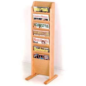 Wooden Mallet Cascade™ Free-Standing 7 Pocket Magazine Rack, Light Oak