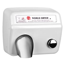 World Dryer Pushbutton Hand Dryer - 115V,  White cast iron cover - A5-974AU