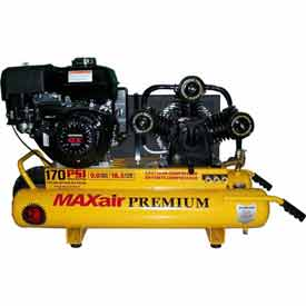 MaxAir Gasoline Portable Compressor TT90GE-MAP, 9HP, 10 Gal, 18.5 CFM @ 100 PSI