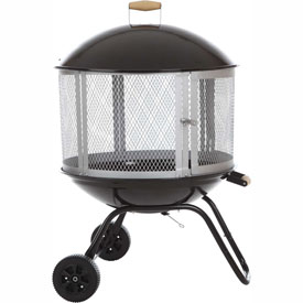 "Fire Sense 28"" Bon Fire® Patio Fireplace 01471 Porcelain Enamel Top & Bottom Black and Silver"