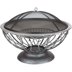 "Fire Sense 30"" Round Urn Fire Pit 02119 Stainless Steel"