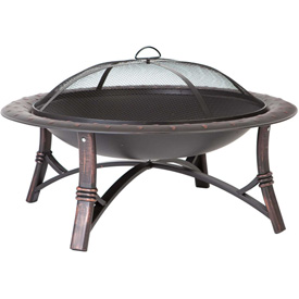 "Fire Sense 35"" Round Roman Fire Pit 60857 Antique Bronze"