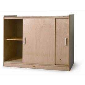 "Sliding Doors Laminated Storage Cabinet, 41""W x 20""D x 32""H, Natural"