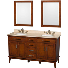 "Wyndham Sheffield Double Bathroom Vanity-Lt Chestnut, 60""L, Ivory Mrbl Top, Oval Sink"