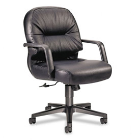 HON® Manager's Chair with Pillow Top - Leather - Black - Pillowsoft Series