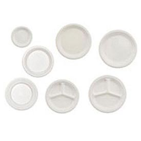 "Chinet® Paper Plate, 10-1/4"" Round, 3-Compartment, 500/Carton, White"