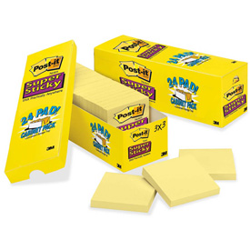 Original Canary Yellow Post-It® Office Note Pads, 3 x 3, 24 90-Sheet Pads/Pack