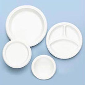"Plastic Dinnerware, Divided Plate, 9"" Diameter, White, 125 per Pack"