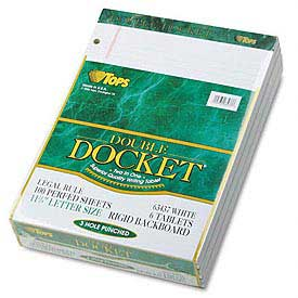 Docket® Letter Size Narrow Rule Double Pad, White, 100 Sheets/Pad, 4/Pack
