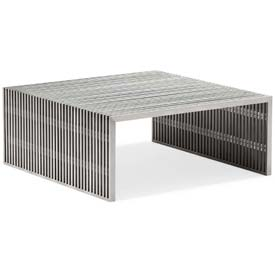 "Zuo Modern Novel Table, 16""H, Brushed Stainless Steel Frame"