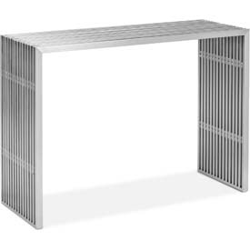 "Zuo Modern Novel Table, 31-13/16""H, Brushed Stainless Steel Frame"
