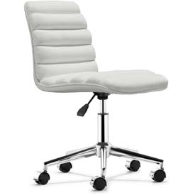 "Zuo Modern Admire Office Chair, 31-34-3/8""H, Steel Frame Frame, White"