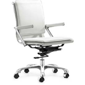 "Zuo Modern Lider Plus Office Chair, 37-39/12""H, Chromed Steel Frame, White"