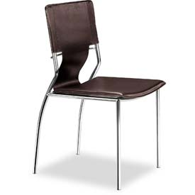 "Zuo Modern Trafico Dining Chair, 33""H, Chromed Steel Frame, Espresso - Pkg Qty 4"