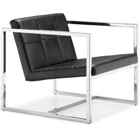 "Zuo Modern Carbon Chair, 26-3/8""H, Chromed Steel Frame, Black"
