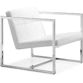 "Zuo Modern Carbon Chair, 26-3/8""H, Chromed Steel Frame, White"