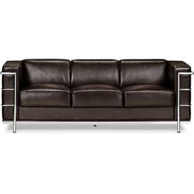 "Zuo Modern Fortress Sofa, 26""H, Chromed Steel Frame, Espresso"