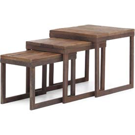 "Zuo Modern Civic Center Table, 16""H, Metal Top, Fir Wood Frame, Distressed Natural"