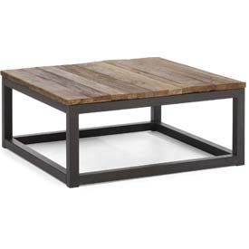 "Zuo Modern Civic Center Table, 14-5/8""H, Metal Top, Fir Wood Frame, Distressed Natural"