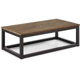 "Zuo Modern Civic Center Table, 15""H, Metal Top, Fir Wood Frame, Distressed Natural"